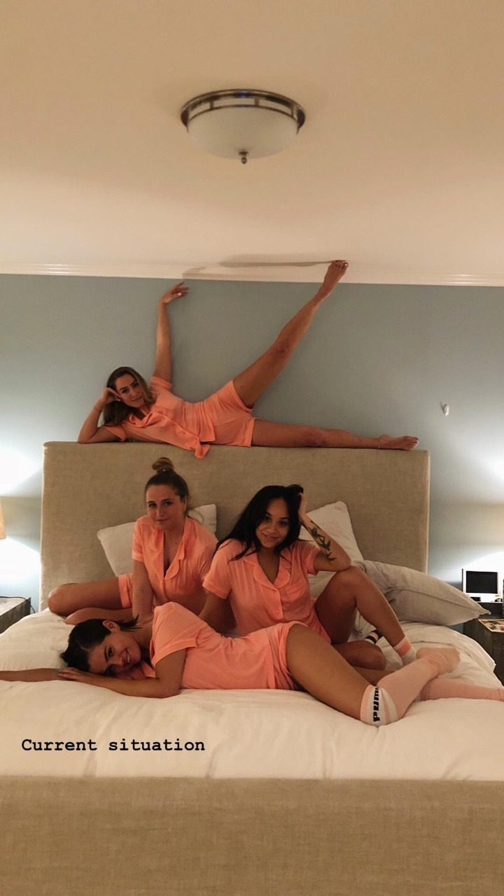 Selena Gomez pink pajamas April 2018