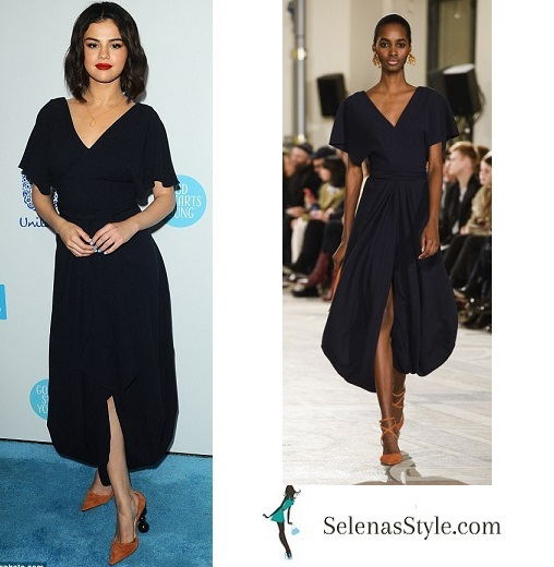 Selena Gomez style clothes outfit blog navy blue dress tan shoes WE Day april 2018