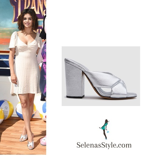 Selena Gomez style clothes outfit pale pink embellished dress hotel Transylvania 3 April 2018