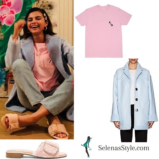 Selena Gomez style clothes outfit pink t-shirt blue jeans blue coat pink fluffy slip on slides MArch 2018