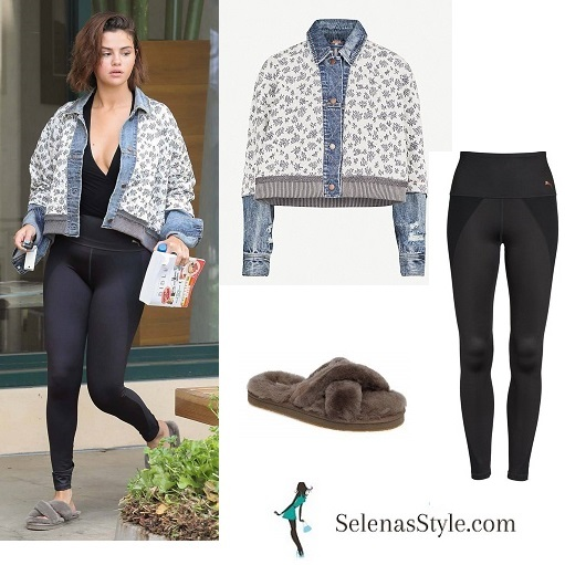 Selena Gomez style clothes outfit style black leggings grey fur slides denim and fabric jacket April 3 2018