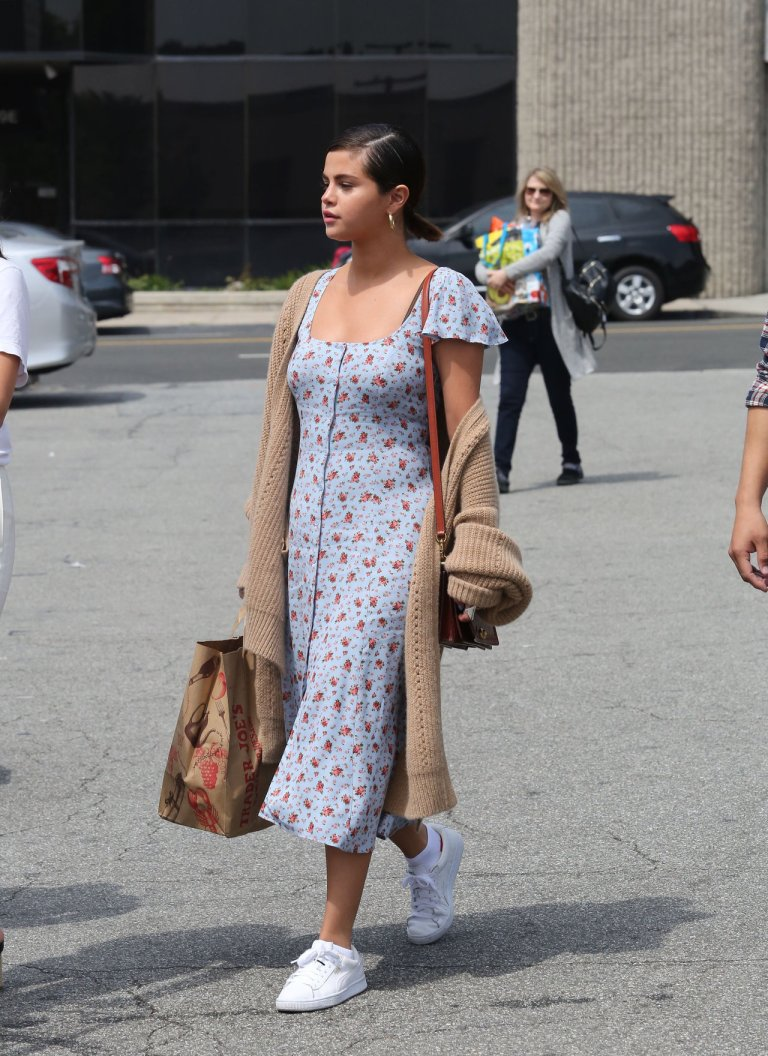 Selena Gomez style clothes outfits blog blue floral midi tea dress camel cardigan white sneakers April 1 2018