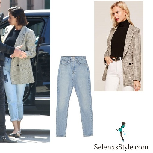 Selena Gomez style clothes outfits blog check jacket blue jeans black slingbacks April 10 2018