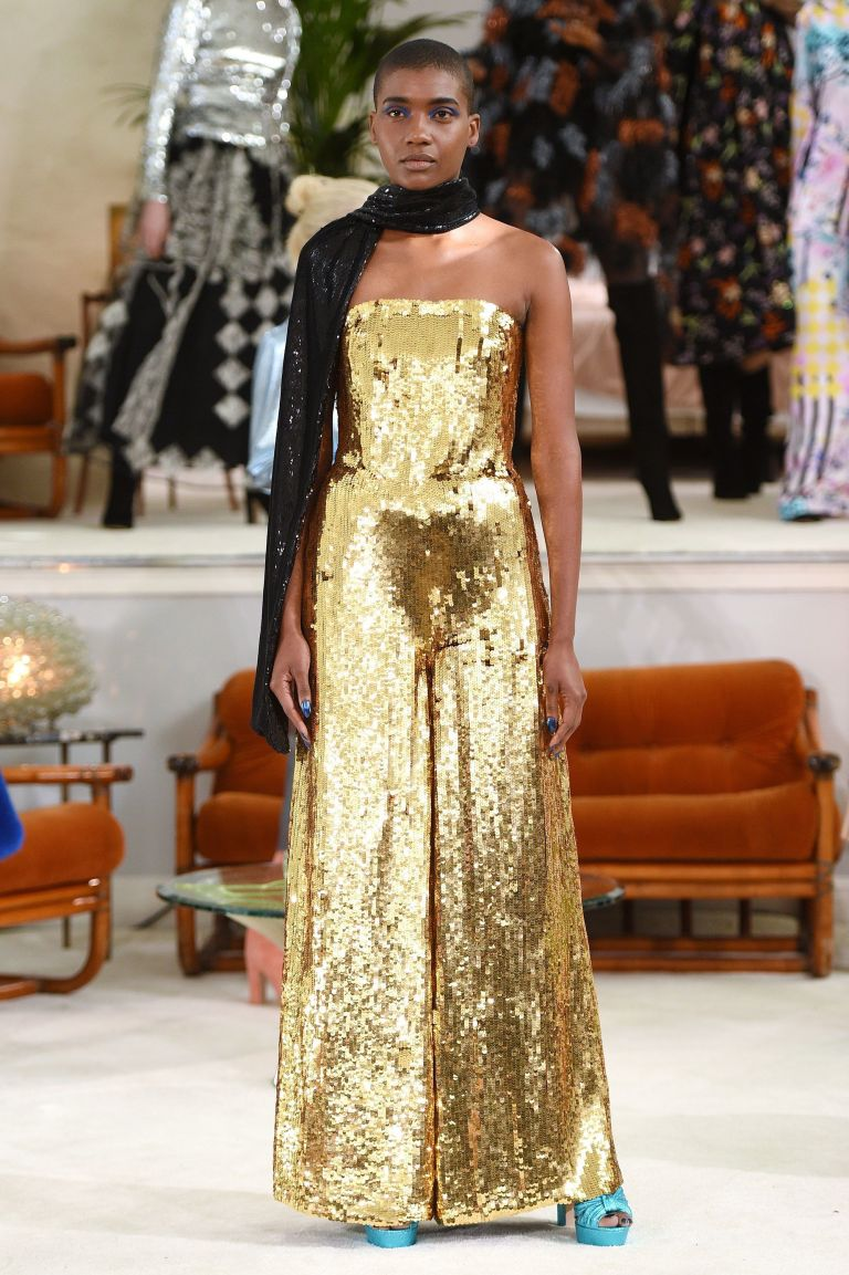 Osman Fall 2018 gold sequin strapless jumpsuit.jpg