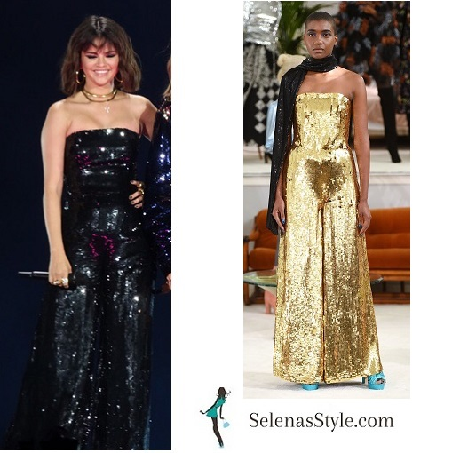 Selena gomez black sequin strapless jumpsuit with Taylor Swift May 2018