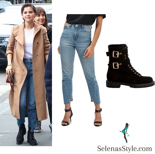 Selena Gomez style brown coat blue jeans black boots NY May 2018