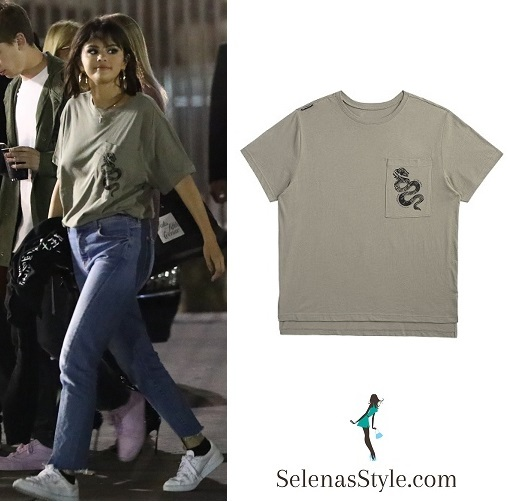 Selena Gomez style green t-shirt blue jeans white sneakers May 19 2018