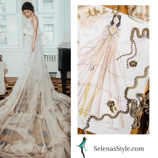 Selena Gomez style pale pink chiffon gown with train by Stuart Vevers Met Gala 2018