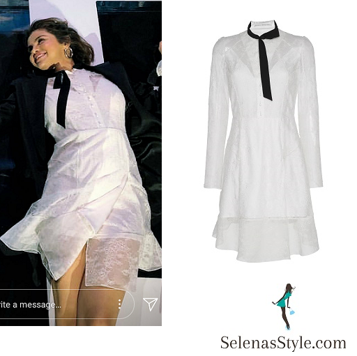 Selena Gomez style white dress black jacket WE Day April 2018