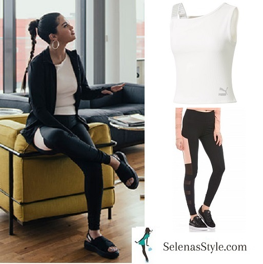 Selena Gomez style white Puma top black jacket black leggings April 2018
