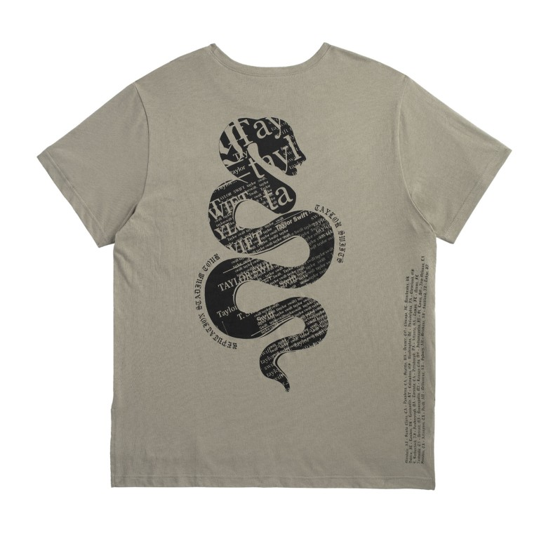 Taylor Swift Green Pocket Tour Tee with Snake Design back view