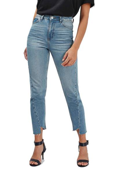 Topshop Mom Asymmetrical Step Hem Jeans
