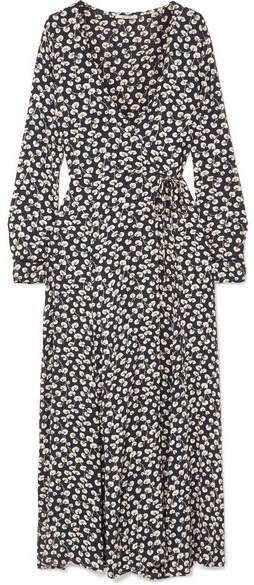GANNI - Roseburg Printed Crepe De Chine Wrap Dress