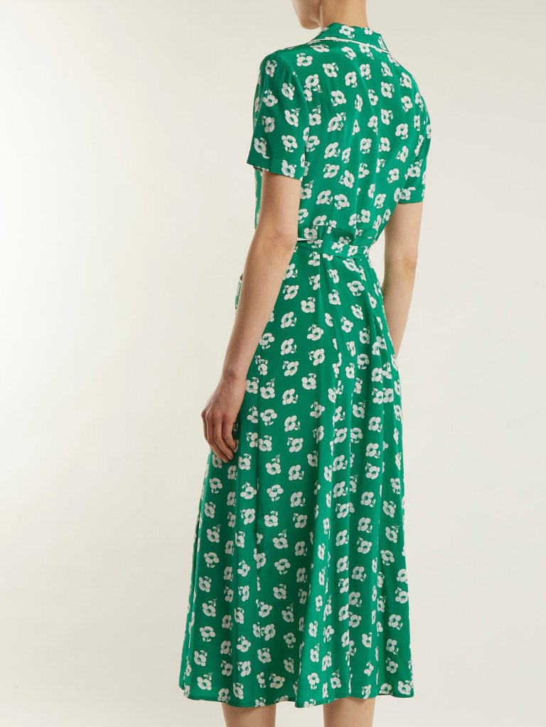 HVN Maria floral-print button-down silk dress back view