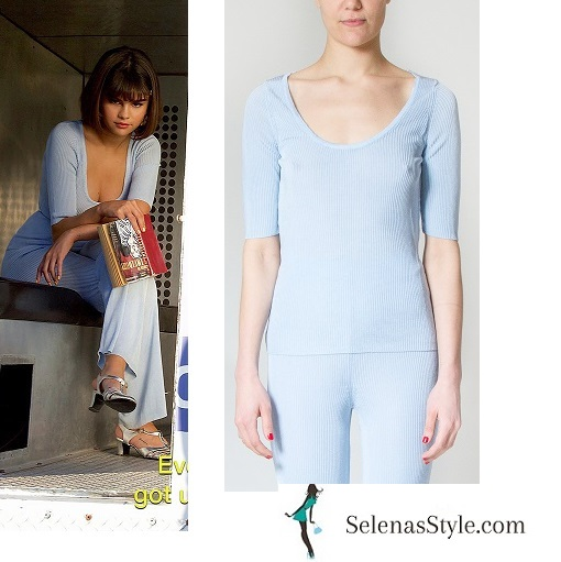 Selena Gomez style Back to you vdeo blue top blue pants silver sandals June 2018