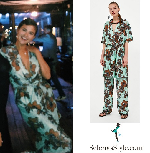 Selena Gomez style clothes outfit blog June 20 2018 green blue floral top and trousers Italy