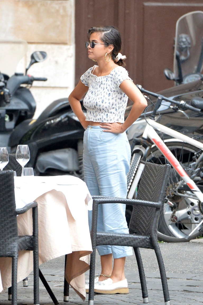 Selena gomez style clothes outfit blog smocked top blue trousers white loafers Rome 19 June 2018