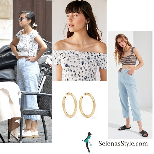 Selena Gomez style clothes outfit blog smocked top blue trousers white loafers Rome June 2018