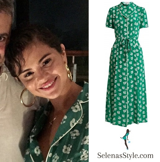 Selena Gomez style fashion outfit blog green floral dress Italy 2018