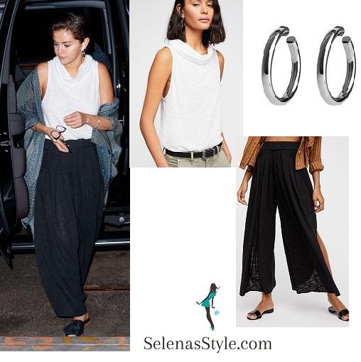 Selena Gomez style white cowl top black trousers grey shawl may 6 2018