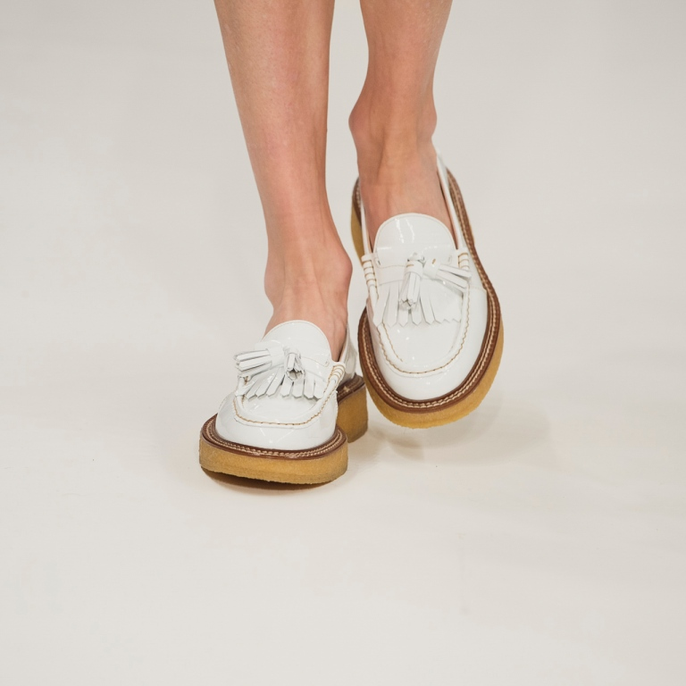 Tods white loafers