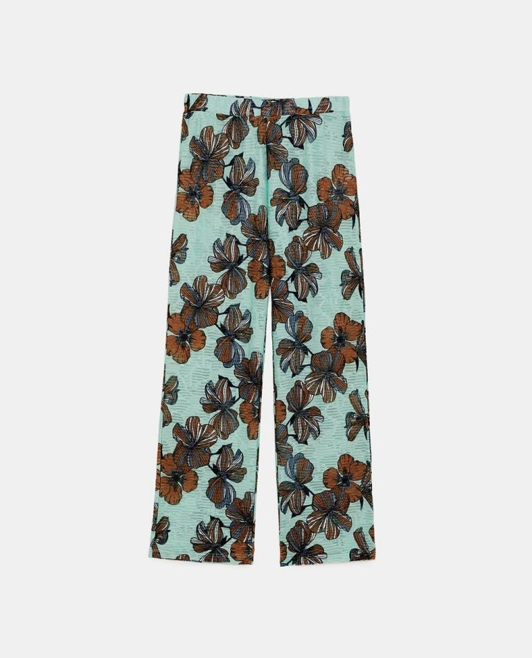 Zara floral print textured pants
