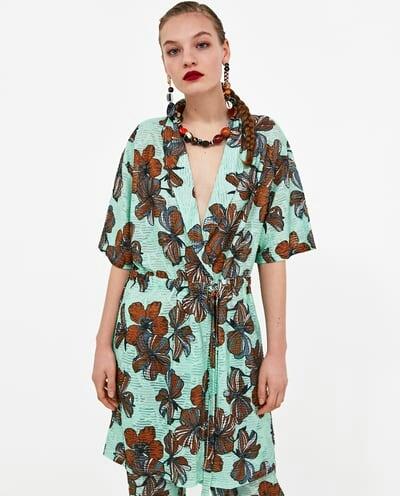 Zara floral print textured tunic
