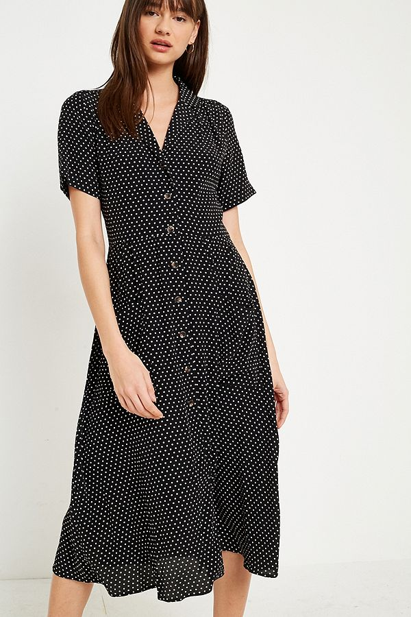 Pins & Needles Polka Dot Midi Shirt Dres