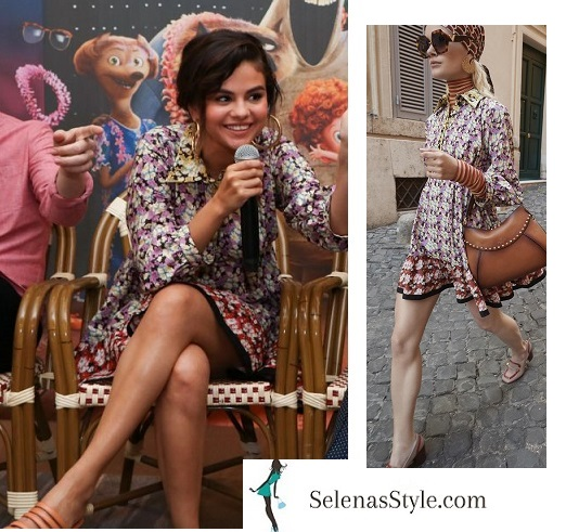 Selena Gomez purple and yellow floral dress nude starppy sandals gold hoop earrings HT3press conference June 2018 instagram
