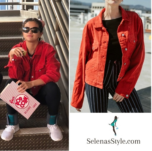 Selena gomez red denim jacket white t-shirt white sneakers