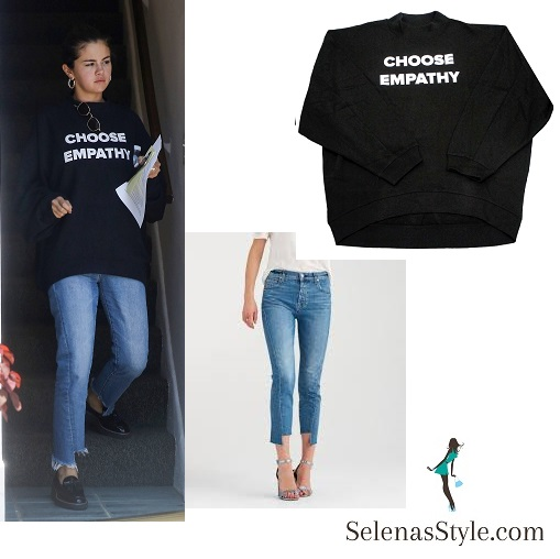 Selena gomez style blog choose empathy sweatshirt blue jeans black loafers silver hoop earrings July 2018 instagram