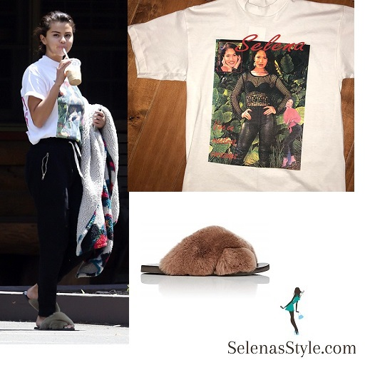 Selena Gomez style blog white t-shirt black jogging pants furry slip on July 12 2018