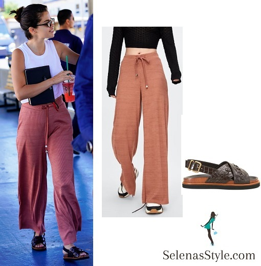 Selena Gomez style blog white top pink pants black slip on Coney Island July 2018
