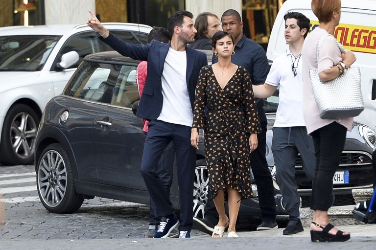 Selena Gomez style clothes outfit blog black multi wrap dress white slides Rome June 21 201