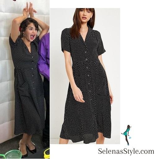 Selena Gomez style fashio outfit blog black print midi tea dress CHOC Childrens hospital prom 23 June 2018