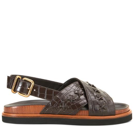 Tods crocodile print sandalsin leather