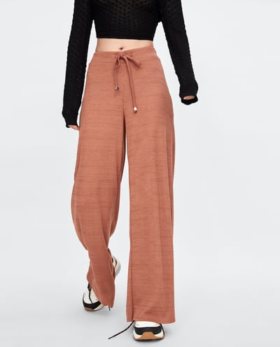 Zara Ribbed Wide Leg Trousers