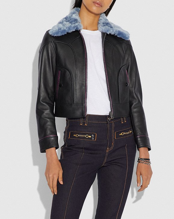 Coach x Selena Leather Jacket with Faux Fur