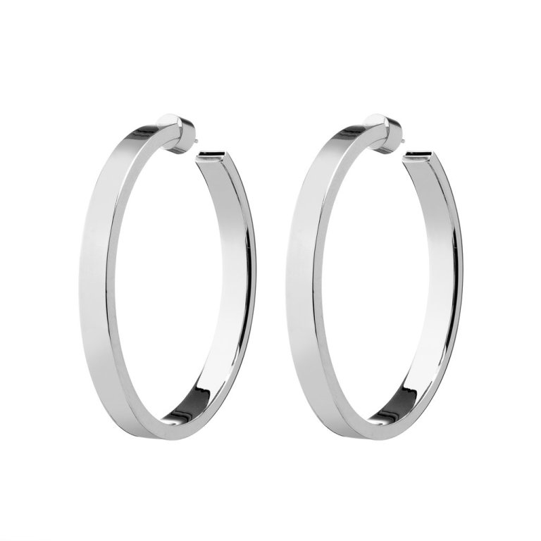 Jennifer Fisher Silver Hollow Kate Hoop earrings