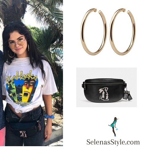 Selena Gomez Bahooka t-shirt bunny belt bag gold hoop earring august 14 2018