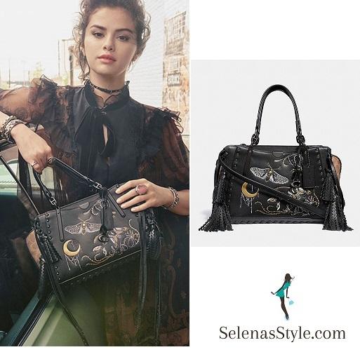 Selena Gomez style blog black bag black chiffon and brown dress