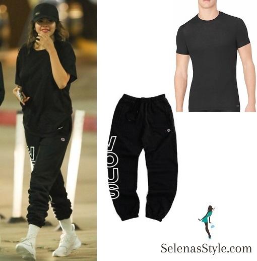 Selena Gomez style blog black t-shirt black puma sweatpants white sneakers 26 July 2018