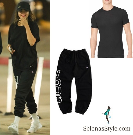 Selena Gomez style blog black t-shirt black puma sweatpants white sneakers 26 July 2018
