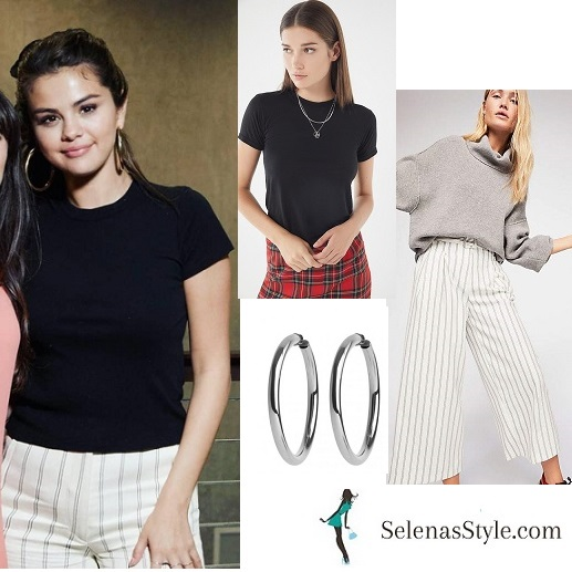 Selena Gomez style blog black t-shirt ivory striped trousers August 9 2018