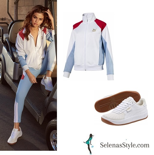 Selena Gomez style blog blue and white zip jacket leggings white sneakers 2018