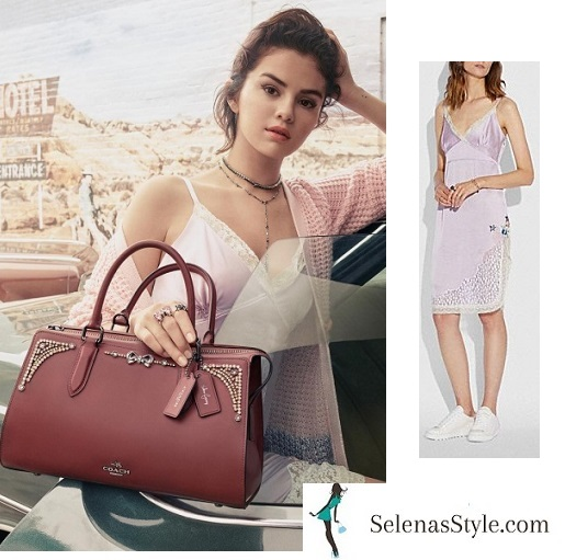 Selena Gomez style blog lilac slip dress pink cardigan maroon bag coach 2018 photo Steven Meisel