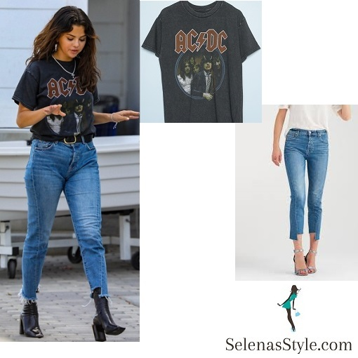 Selena Gomez style clothes outfit blog AC DC t-shirt blue jeans black boots 29 July 2018
