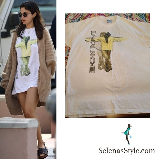 Selena gomez style fashion outfit blog bon jovi t-shirt beige cardigan brown crossover sandals 25 July 2018