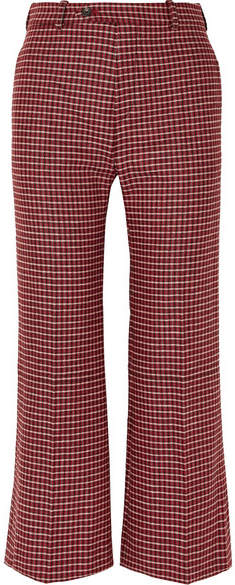 Chloé Cropped Checked Wool-blend Wide-leg Pants