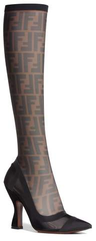 Fendi Logo Sock Pointy Toe Pump